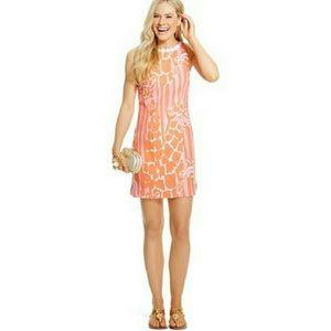 LILLY PULITZER GIRAFFE LINEN PINK ORANGE DRESS 2